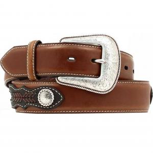 Brown Side Overlay Leather Belt