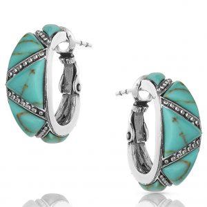 Turquoise Wedge Hoop Earrings