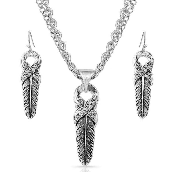 Feather Earrings & Necklace Set