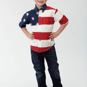Kid's Patriot Flag Shirt in Short Sleeve