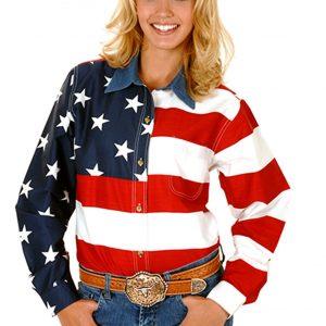 Women's Patriot Flag Shirt in Long Sleeve