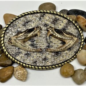 Rattlesnake Belt Buckle with Dueling Heads Inlay
