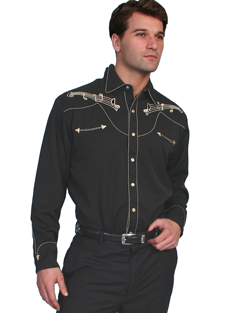 Scully Music Note Embroidered Dress Shirt