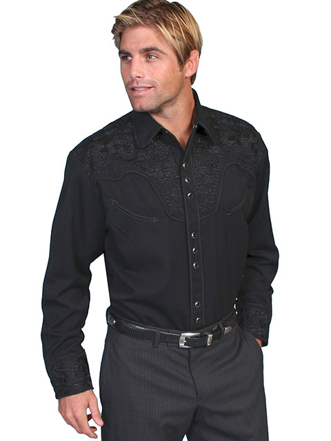 """Scully """"Gunfighter"""" Embroidered Shirt Blk/Blk"""